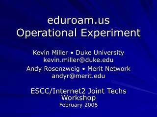 eduroam Operational Experiment