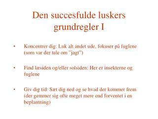 Den succesfulde luskers grundregler I