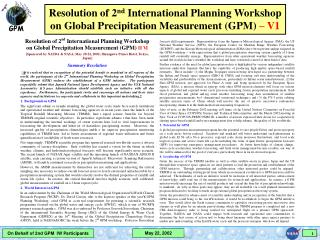 Resolution of 2 nd  International Planning Workshop