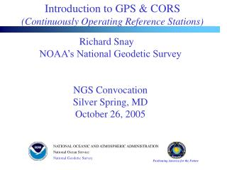 Introduction to GPS & CORS   (Continuously Operating Reference Stations)