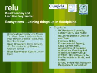 Ecosystems – Joining things up in floodplains