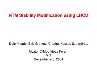 NTM Stability Modification using LHCD