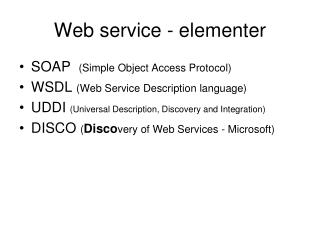 Web service - elementer