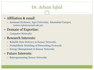 Dr.  Adnan Iqbal