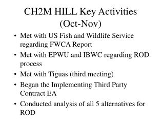 CH2M HILL Key Activities (Oct-Nov)