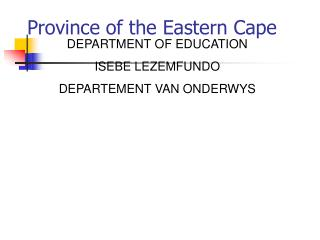 Province of the Eastern Cape