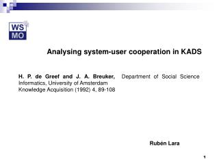 Analysing system-user cooperation in KADS