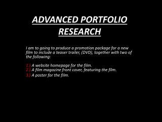 ADVANCED PORTFOLIO RESEARCH
