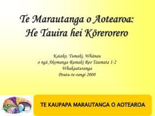 Te Marautanga o Aotearoa:   He Tauira hei Kōrerorero