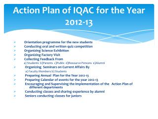 Action Plan of IQAC for the Year 2012-13