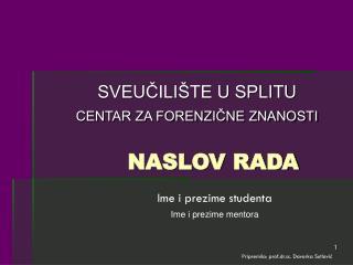 NASLOV RADA