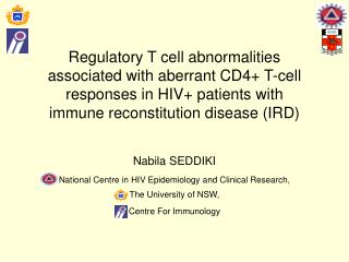 Nabila SEDDIKI National Centre in HIV Epidemiology and Clinical Research, The University of NSW,