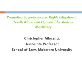 Promoting Socio-Economic Rights Litigation in South Africa and Uganda: The Amicus Machinery