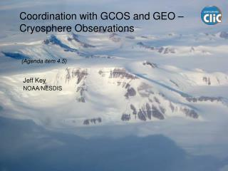 Coordination with GCOS and GEO –  Cryosphere Observations