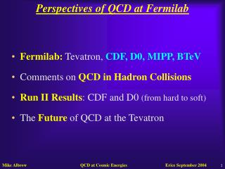 Perspectives of QCD at Fermilab