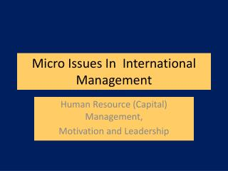 Micro Issues In  International Management