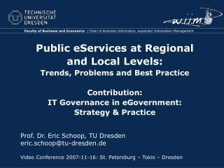 Prof. Dr. Eric Schoop, TU Dresden    eric.schoop@tu-dresden.de