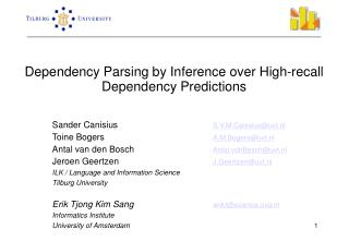 Dependency Parsing by Inference over High-recall Dependency Predictions