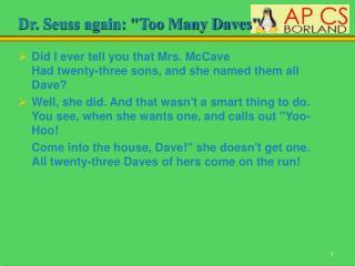 Dr. Seuss again: