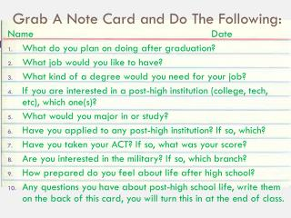 Grab A Note Card and Do The Following: