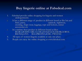 fabsdeal is an online shopping portal for women undergarment