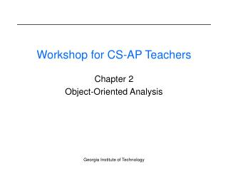 Workshop for CS-AP Teachers
