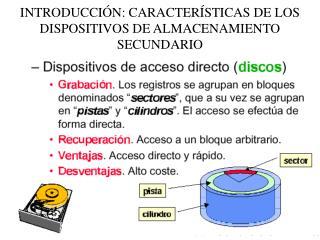 INTRODUCCIÓN: CARACTERÍSTICAS DE LOS DISPOSITIVOS DE ALMACENAMIENTO SECUNDARIO