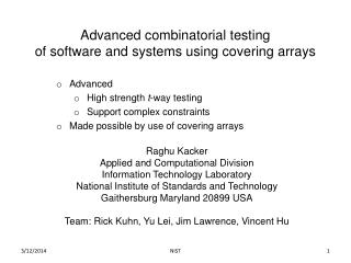 Advanced combinatorial testing of software and systems using covering arrays