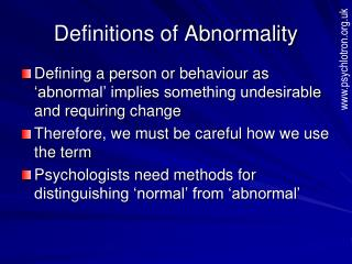 abnormal psychology defining abnormality That's why, defining abnormality by distress only doesn't work although, it is an important concept in defining it example  labels: abnormal behavior abnormal psychology abnormality abnormal criteria for abnormality cultural norms danger depression deviant distress dysfunction example stress comments post a comment.