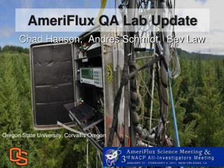 AmeriFlux QA Lab Update