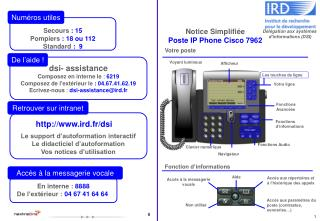 Notice Simplifiée Poste IP Phone Cisco 7962