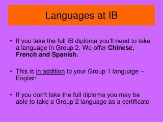 Languages at IB