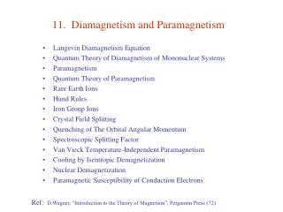 11.  Diamagnetism and Paramagnetism