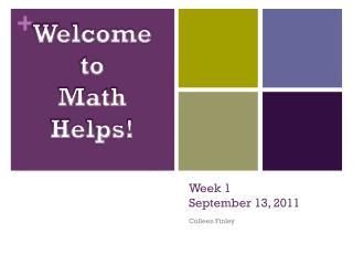 Week 1 September 13, 2011