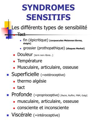 SYNDROMES SENSITIFS