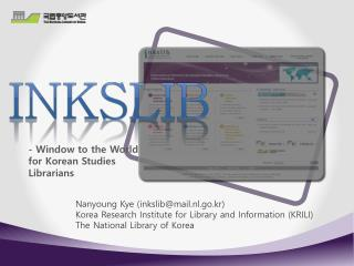 - Window to the World for Korean Studies Librarians