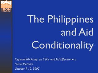 The Philippines and Aid Conditionality