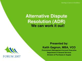 Alternative Dispute Resolution ADR