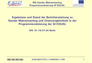 Gender Mainstreaming und Chancengleichheit in der GI EQUAL