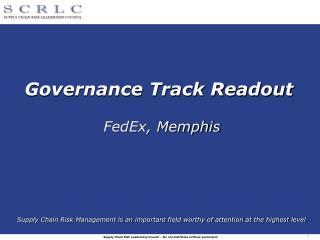 Governance Track Readout