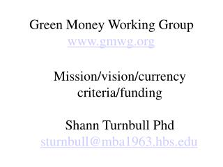Green Money Working Group gmwg