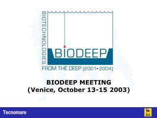 BIODEEP MEETING (Venice, October 13-15 2003)