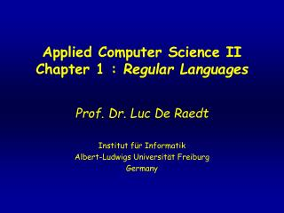 Applied Computer Science II Chapter 1 :  Regular Languages