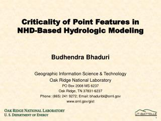 Criticality of Point Features in NHD-Based Hydrologic Modeling