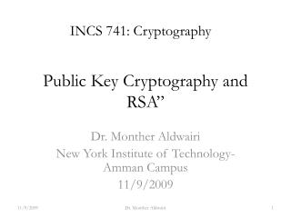 Public Key Cryptography and RSA ""