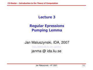 Lecture 3 Regular Epressions Pumping Lemma