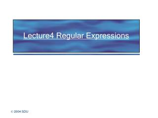 Lecture4 Regular Expressions