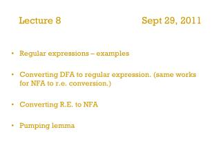 Lecture 8                                 Sept 29, 2011