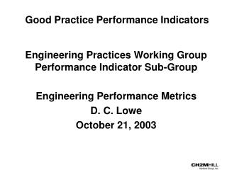 Good Practice Performance Indicators