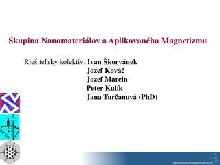 Skupina  Nano materiálov a Aplikovaného Magnetizmu